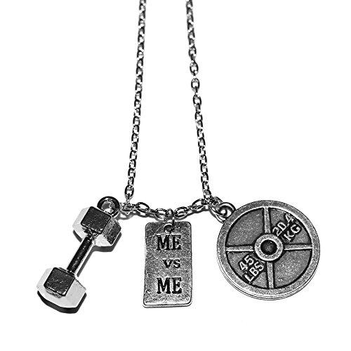 Die original Me Vs Me Halskette by Santa Monica Charm CO. Mit Hantel und Hundetrockenfutter Teller Anhänger