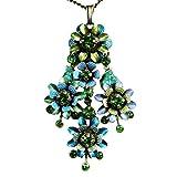 Konplott Mille Fleurs Halskette mit Anhänger blau grün messing 6931