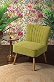 MY-Furniture LOLA Gepolsterter Retro Sessel, Austern-Design, Limefarben