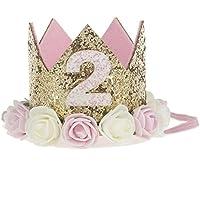 Missley Corona rosa flor corona de oro corona de cumpleaños princesa bebés corona cabeza accesorios de pelo (2)