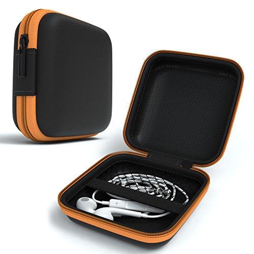 EAZY CASE Universal Tasche für In-Ear Kopfhörer mit Netzfach - Hardcase Aufbewahrungsbox, Schutztasche mit umlaufenden Reißverschluss, extra klein, eckig, Orange thumbnail