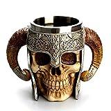 YUNGYE Créatif Rétro 3D Crâne Vin Verre Arts Artisanat Graal Knight Tankard Marauders Terreur Diable Doom Double Paroi Tasse À Bière (Capacity : 501 600ml, Color : Chivalry Horn)