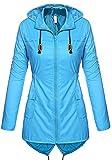 ZEVONDA Damen Oberbekleidung Camping Wandern Outdoor Einfarbig Reißverschluss Kapuze Atmungsaktiv Wasserdichte Jacke Windjacke Mantel, Blau/L