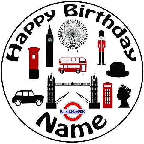 Personalizzato Londra–Topper per torta a pre-cut rotondo