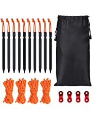G2plus Piquetas con cuerda 10 piezas ideales para ir de camping o para la playa azul