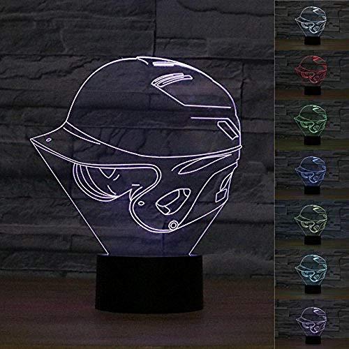 LWYFADS 3D-Illusions-Lampen,Neue 3D Abstrakt Effekt Baseball Helm LED Nachtlicht Touch Tisch Schreibtisch Lampen 7 Farbwechsel Illusion Lichter mit Acryl Flache ABS Basis USB Ladegerät