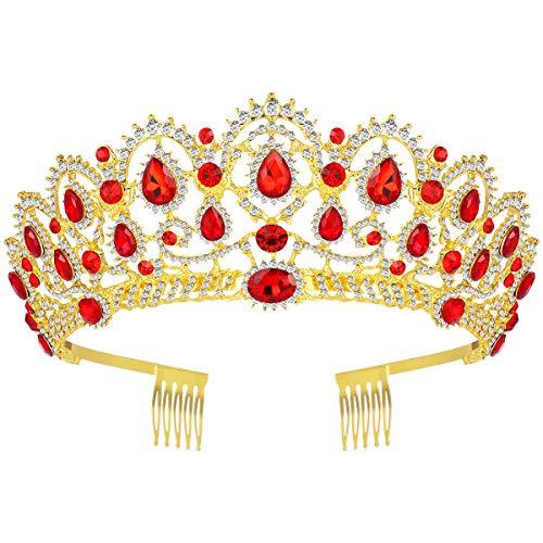 Königin Krone, Vintage Stirnband Strass Kristall Krone, Hochzeit Prom Tiaras für Frau Mädchen (rot)