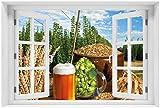 Wallario Acrylglasbild mit Fenster-Illusion: Motiv Frisch gezapftes Bier, Hopfen und Malz - 60 x 90 cm mit Fensterrahmen in Premium-Qualität: Brillante Farben, freischwebende Optik