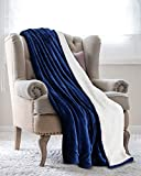 Utopia Bedding Mantas Reversibles de Franela Sherpa Flannel (150 x 200 cm) - Azul Marino - Tela de Cepillo Extra Suave, Súper Cálida, Manta de sofá acogedora y Ligera, Cuidado fácil