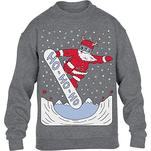 Weihnachtspullover Santa On A HO HO HO Snowbord Kinder Pullover Sweatshirt 152-164cm Grau -