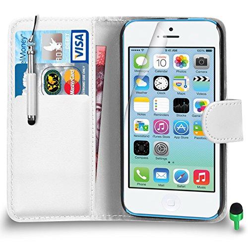 Apple iPhone 5C hülle Prämie Leder WEIß Brieftasche Flip Fall Abdeckung mit Einziehbar touch-Stylus GRÜN Kappe Bildschirmschutz & Poliertuch