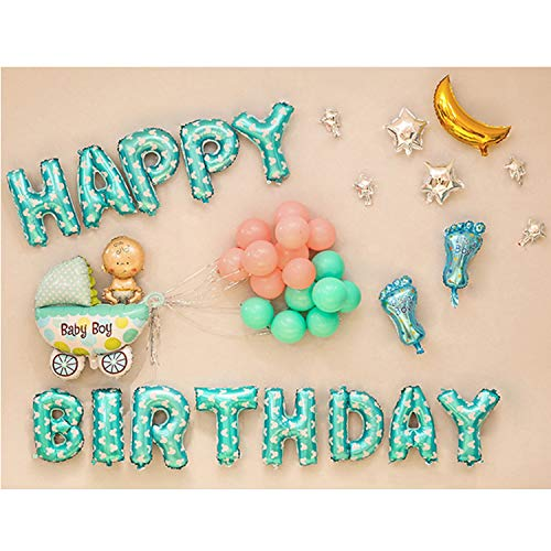 YHmall Babyparty Dekoration, Happy Birthday Buchstaben Luftballons und Aufblasbar Folie Ballons, Ballons Deko für Babyshower, Taufe MEHRWEG