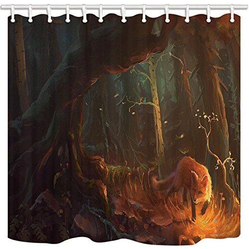 dschungelbild Nyngei Duschvorhang mit der Fuchs und der mit dem, im Dschungel-Bild childlike Schimmel Wasserdicht Polyester Stoff Duschvorhang-Set mit Haken 180x 180cm