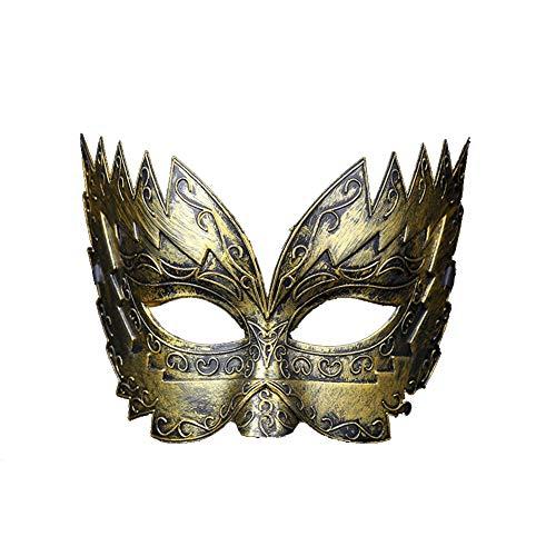 Daliuing Herren Halloweenmaske, halbes Gesicht, Halloween-Kostüm, Plastik, Vintage-Krone, Festival, Karnevalsmaske 26 * 8cm Gold ()
