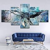 INFANDW 5 Panel Druck auf leinwand Abstrakter Aquarell Wal Pop Art Gemälde Kunstdrucke Wandbilder Bilder zur Dekoration - Schlafzimmer Wohnzimmer Flur Kinderzimmer Deko 150 x 80 cm (Rahmenlos)