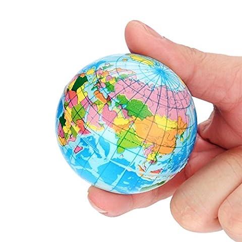Weltkarte, Huihong Stress Entlasten Weltkarte Schaum Ball Atlas Globus Palme Ball Planeten Erde Ball Kinder Bildung Spielzeug Dekompression Spielzeug (60mm, Blau)