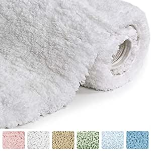 Norcho Soft Area Rug with Non-slip Rubber, Luxury Bathroom Decor for Livingroom Bedroom, Machine Washable 50 by 80 CM White