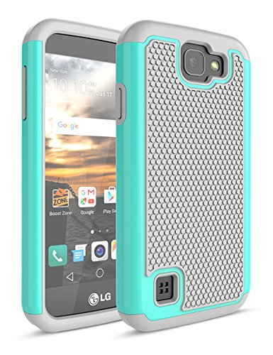 LG K3Fall, bis [Stoßdämpfung] Drop Schutz Dual Layer Hybrid Gummi Kunststoff Impact Defender Rugged Slim Hard Case Cover für LG K3Boost Mobile/Virgin Mobile LS450, Turquoise/Gray