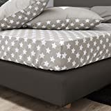 F2F Stars Sterne Spannlaken Bettlaken Spannbetttuch I Größe 180x200 cm I Farbe Beige I Baumwolle glatt