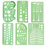 Messschablonen, 6 Stück geometrische Zeichnungen Kunststoff Mess Lineal Gebäude Schalung Schablonen für Zeichnungen und Entwürfe, Schalungszeichnungsvorlagen Grün transparent