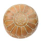 ESSENCE OF MOROCCO Pouf marocain Repose-Pieds Repose-Pieds Ottoman Cuir véritable Marron Naturel Cousu à la Main avec Motif brodé, Cuir, Tan Naturel, Cover Only