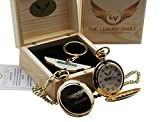 Aston Martin Goldene Taschenuhr und Schlüsselanhänger, 24Karat vergoldet, Geschenk-Set in Box, Logo-Design DB9 James Bond