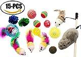 Juguetes para gatos, Sportgirls 15Pcs Varios juguetes para gatitos Cat Juguetes interactivos para ratones con gatita Sisal para interiores y exteriores Pequeños y medianos Gatos grandes