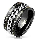 Paula & Fritz® Ring aus Edelstahl Chirurgenstahl 316L schwarz 10mm Spinner mit...