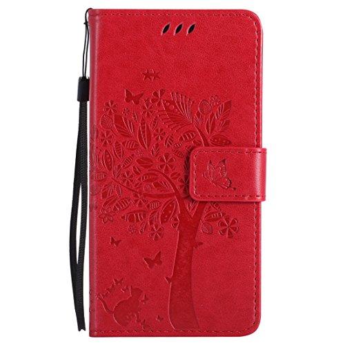 Nancen Tasche Hülle für HTC One M8 (5 Zoll) Flip Schutzhülle Zubehör Lederhülle mit Silikon Back Cover PU Leder Handytasche im Bookstyle Stand Funktion Kartenfächer Magnet Etui Schale -