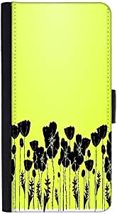 Snoogg Grass And Poppy Graphic Snap On Hard Back Leather + Pc Flip Cover Htc M7