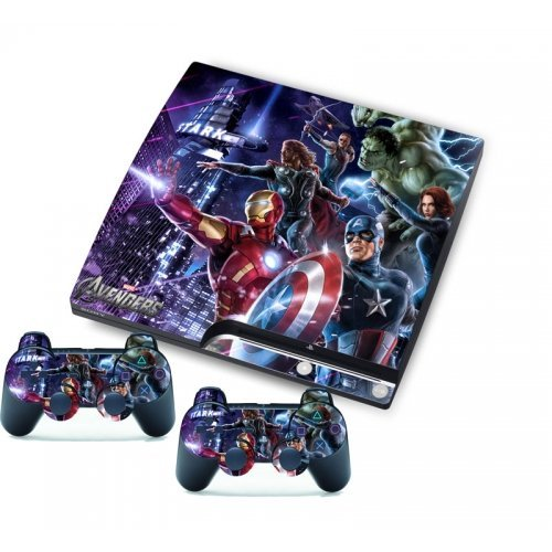 258Stickers® Unique Skin for Playstation 3 Slim & Remote Controllers - World Hero Memorial Avenger Stickers by 258Stickers® (Controller Ps3 Avenger)