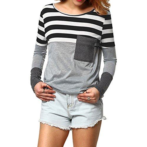 Fancathy Damen Streifen Langarmshirt Top Patchwork Rundhals Baumwoll T-shirt Pullover mit Tasche Frühling Herbst, Schwarz, Gr. XL (Damen-streifen-t-shirt)