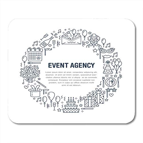 Deglogse Gaming-Mauspad-Matte, Event Agency Birthday Party with Line of Catering Cake Balloon Flower Delivery Clown Thin Linear Sign Mouse Pad Catering Line