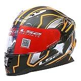 LS2 Full Face Designer Helmet FF-302 Space Matt Black Orange-Large - 58 Cms