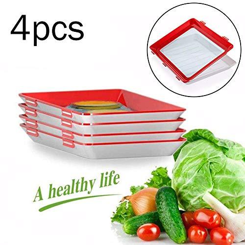 CSPone Stapelbox kühlschrank, Tablett Essen Kunststoff Erhaltung, Hochwertige Aufschnitt Boxen, Essenstablett, Stücke Gesunde Lebensmittelkonservierung Tablett Vorratsbehälter Set Küchenhelfer (4pcs)