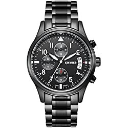 Sport Stainless Steel Straps Watches with Black Dial Arabic Numeral Waterproof Calender Quartz Wrist Watches for Men(White)