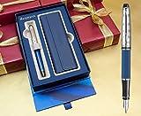 Waterman Expert Füllfederhalter–Deluxe blau Obsession Chromrand in spezieller Geschenkbox mit gratis Pen Pouch