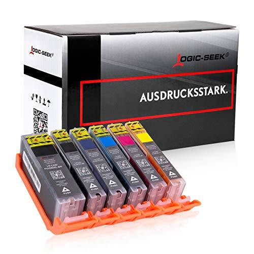 Logic-Seek 6 XXL Tintenpatronen mit Chip kompatibel für Canon PGI580 CLI581 Pixma TR7550 TR8550 TS6150 TS6151 TS8250 PGI-580 CLI-581 - Blau Canon Toner
