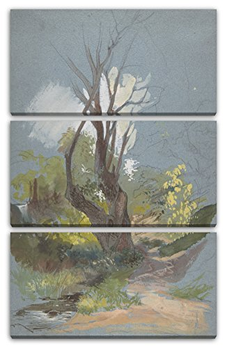 Printed Paintings Leinwand 3-teilig(80x120cm): Friedrich Nerly - Bergpfad mit Einem Baum