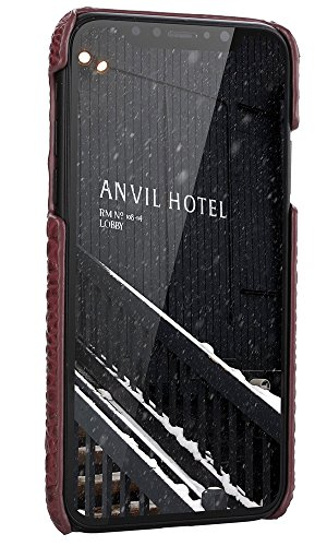 iPhone 8 Hülle ,VENTER® Luxus 3D Krokodil Korn Haut Textur Echt Leder Stoßstange Fall Shockproof Hard Back Cover für iPhone 8 Burgund