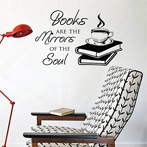 wandaufkleber Buch-Kaffee-Zitat entfernbares Schlafzimmer-Wohnzimmer-Tätowierungs-Kaffee-Speicher-Ausgangsdekor-Kunst