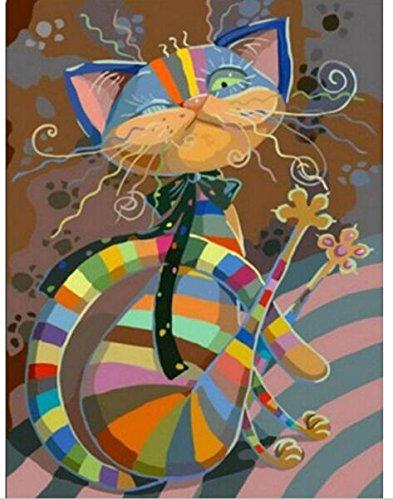 kit mosaico gato colorido piedras cuentas de cristal puzzle cristales multicolor para manualidades, regalos, cuadros, relax, terapias relajantes. antistress regalo de 40 x 50 cm. de OPEN BUY