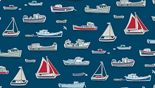 Nautisches Stoff–0,5Meterware–Marina Kollektion von Makower–100% Baumwolle MAK484 Boats Blue