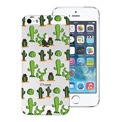 SMART LEGEND iPhone SE 5 5S Weiche Silikon Hülle TPU Bumper Transparent Handyhülle mit Queen Muster Durchsichtig Schutzhülle Backcover Crystal Kirstall Clear Etui Ultra Slim Design Glatt Weich Handyta Kaktus