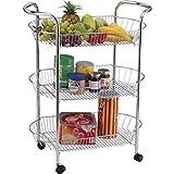 5m-vu5u-khvh 3und 4Etagen chrom Karotten Gemüse Küche Trolley Oval Storage Rack Cart Ständer (3Etagen), silber
