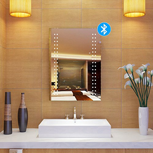 Schindora Bathroom Mirror LED Illuminated Bluetooth Speaker Wall Mounted Cosmetics Mirror