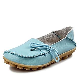 Advogue Damen Mokassin Leder Loafers Fahren Schuhe Comfort Freizeit Flache Schuhe,142 Farben