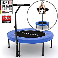 Kinetic Sports Indoor Fitness Trampoline Maison, Diamètre ca. 102 cm, Poignée hauteur réglable 90-130 cm BLEU
