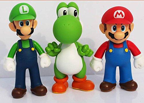 3pcs/set Super Mario Bros Luigi Mario Yoshi PVC Action Figures toy 13cm by Brand New 6