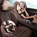 FancyU Auto Nackenkissen Kopfkissen, Universal Autositz Kopfstütze mit Memory Foam für VW BMW Honda Toyota, Schwarz